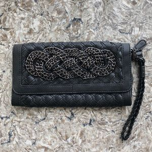 💫✨ Lined Black Leather Clutch w/ Wristlet ✨💫